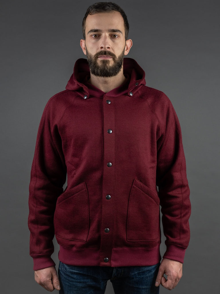 Stevenson Overall Detachable Hooded Athletic Jacket Burgundy