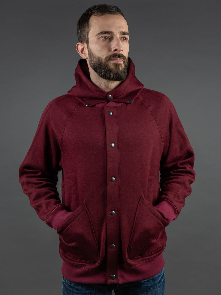 Stevenson Overall Detachable Hooded Athletic Jacket Burgundy pockets