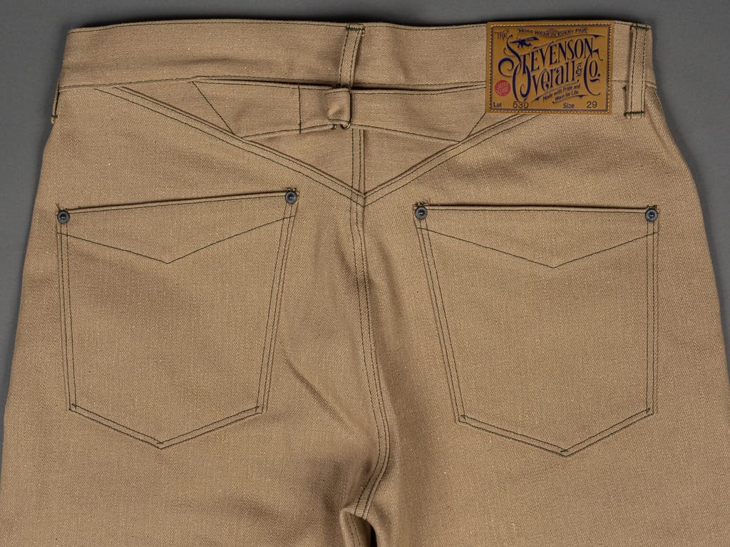 Stevenson Overall Coloma 530 Cinch Back beige jeans back pockets