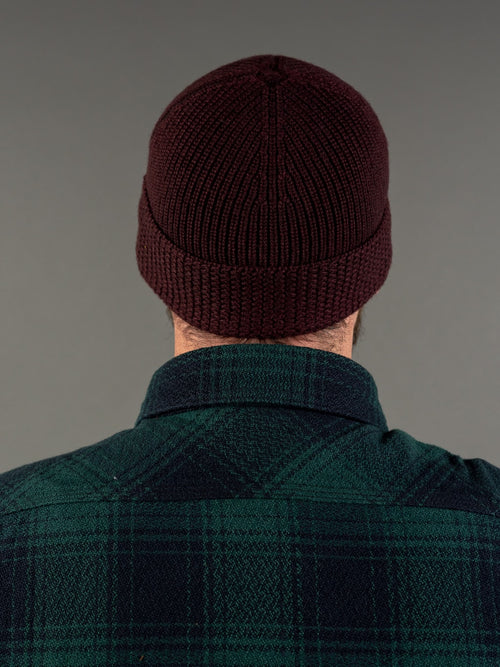 Stevenson Overall Knit Cap Burgundy US navy back