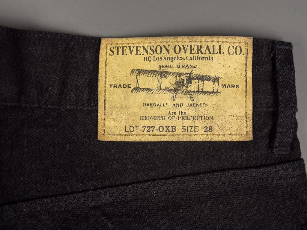 Stevenson Overall La Jolla 727 black jeans leather patch