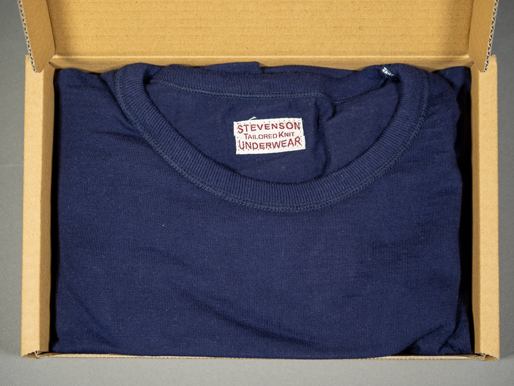 stevenson overall loopwheel indigo dyed crew neck tshirt packaging