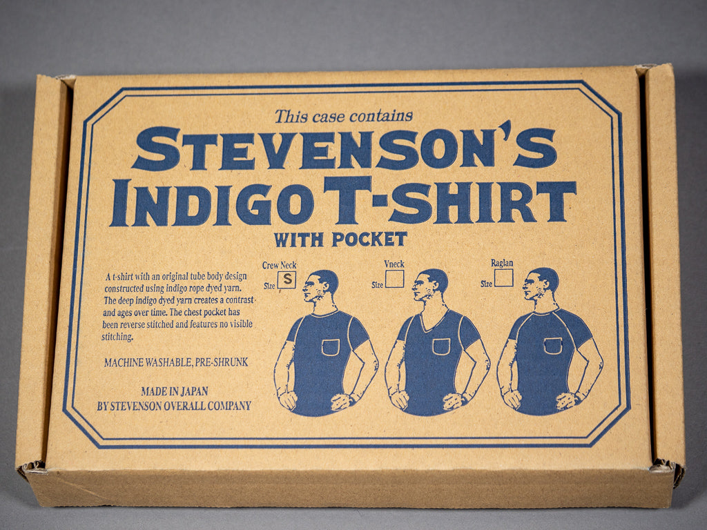 stevenson overall loopwheel indigo dyed tshirt packaging