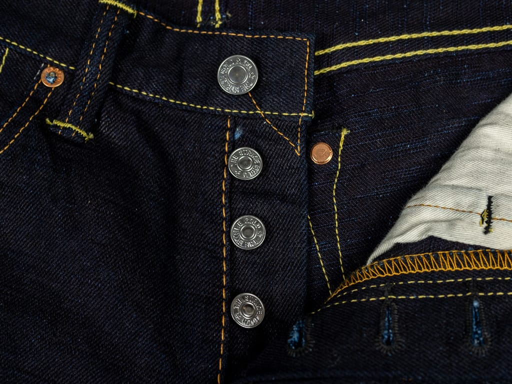 Strike Gold 5004ID Double Indigo Straight Tapered denim Jeans buttons