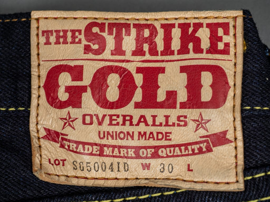 Strike Gold 5004ID Double Indigo denim Jeans deerskin leather patch
