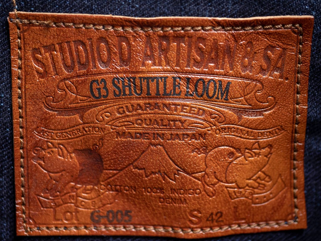 Studio D´Artisan Indigo Type II Jacket tanned leather patch
