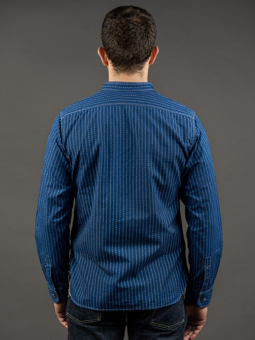 Studio D´Artisan Indigo Wabash Band Collar Shirt back fit