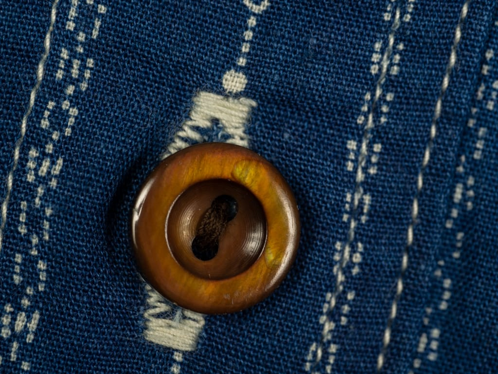 Studio D´Artisan Indigo Wabash Shirt brown resin button