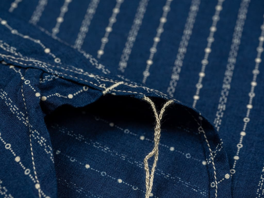 Studio D´Artisan Indigo Wabash Band Collar Shirt chain stitching runoff