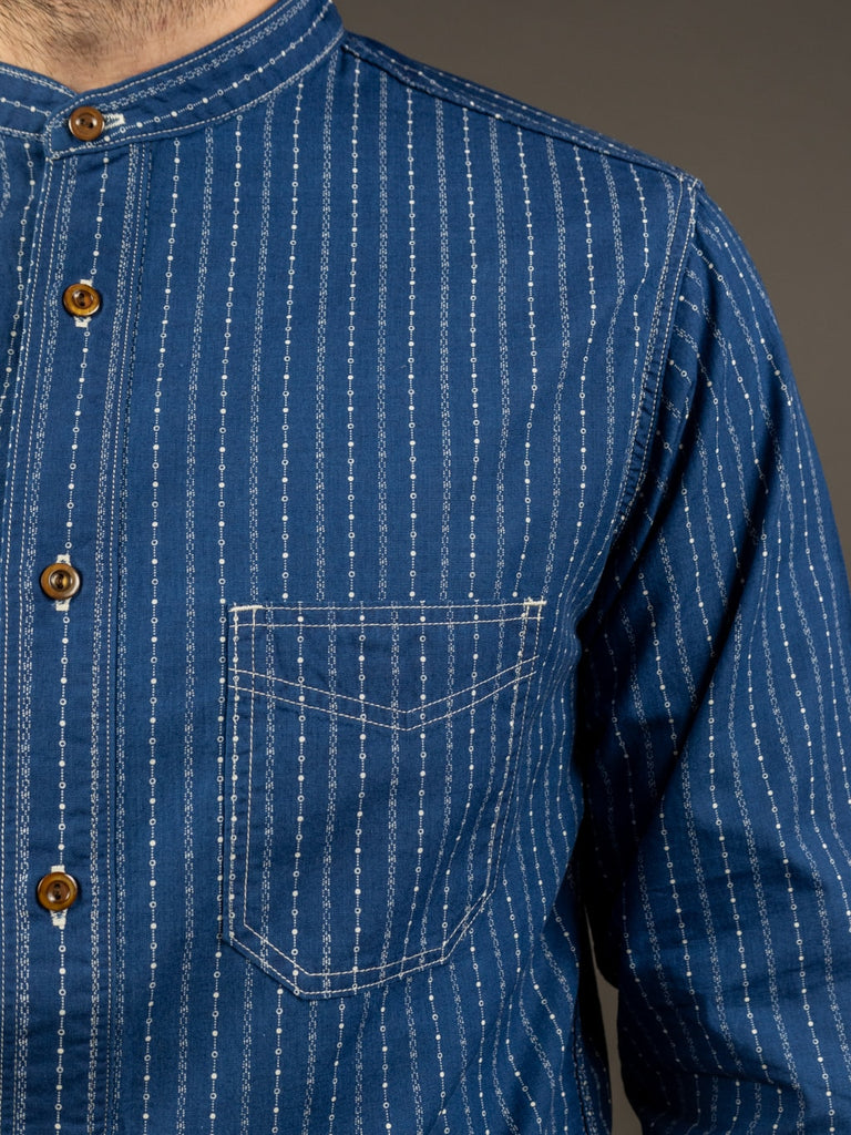 Studio D´Artisan Indigo Wabash Band Collar Shirt pocket
