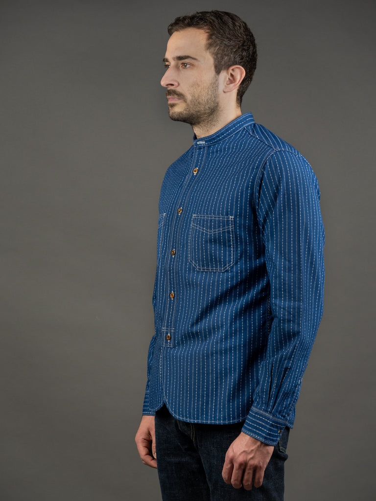 Studio D´Artisan Indigo Wabash Band Collar Shirt side
