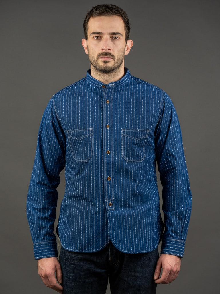 Studio D´Artisan Indigo Wabash Band Collar Shirt slim fit