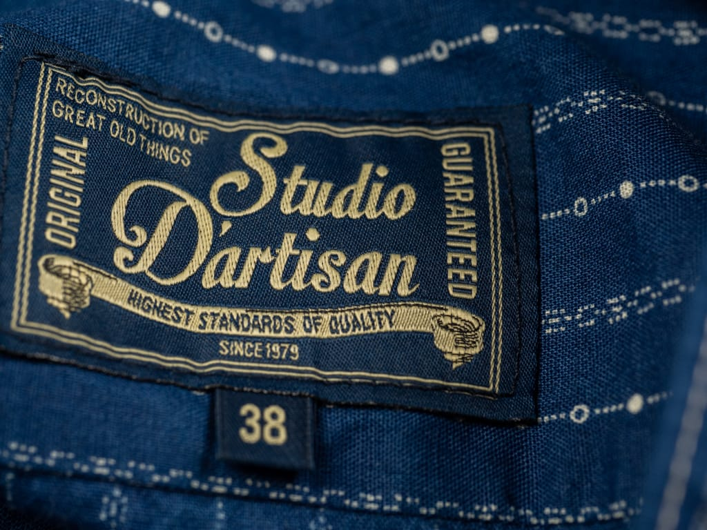 Studio D´Artisan Indigo Wabash Band Collar Shirt tag