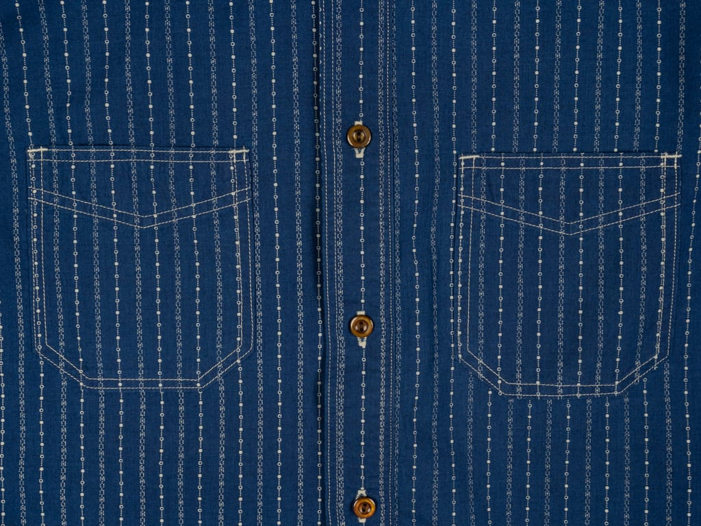 Studio D´Artisan Indigo Wabash Band Collar Shirt pockets