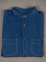 Studio D´Artisan Indigo Wabash Band Collar Shirt chest pockets