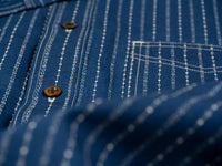 Studio D´Artisan Indigo Wabash Band Collar Shirt detail