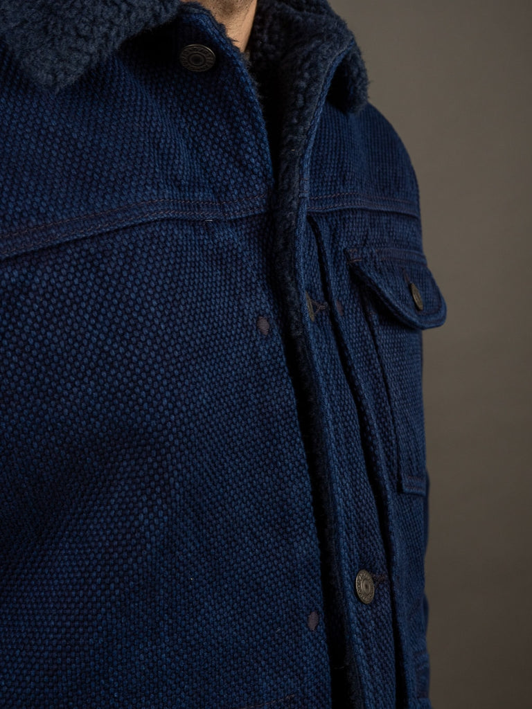 Studio D´Artisan Kasezome Sashiko Double Indigo Jacket chest