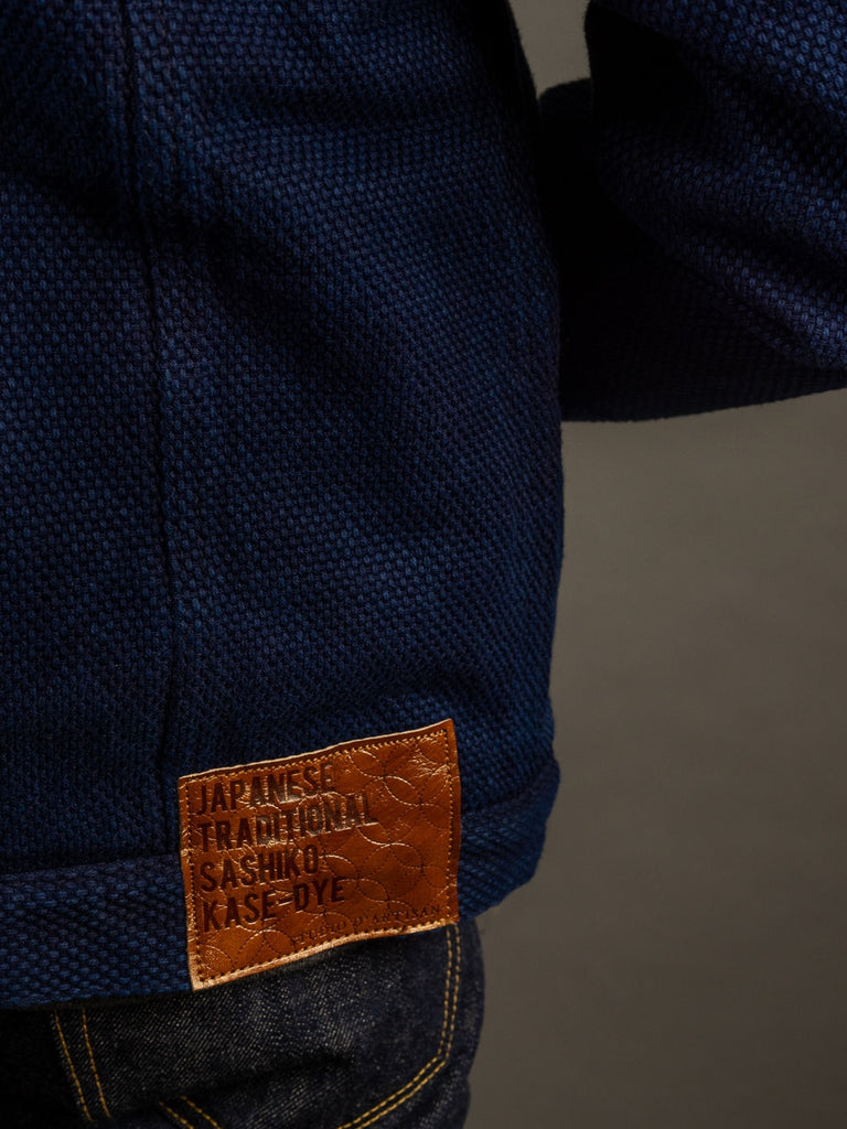 Studio D´Artisan Kasezome Sashiko Indigo Jacket leather patch