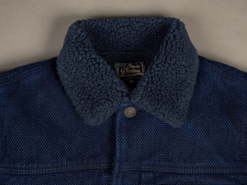 Studio D´Artisan Kase Sashiko Indigo Jacket hair sheep fur collar