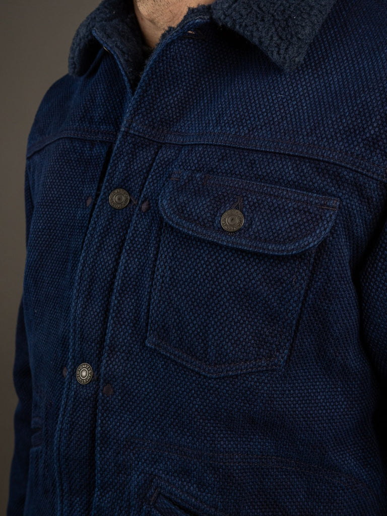 Studio D´Artisan Kasezome Sashiko Double Indigo Jacket chest pocket