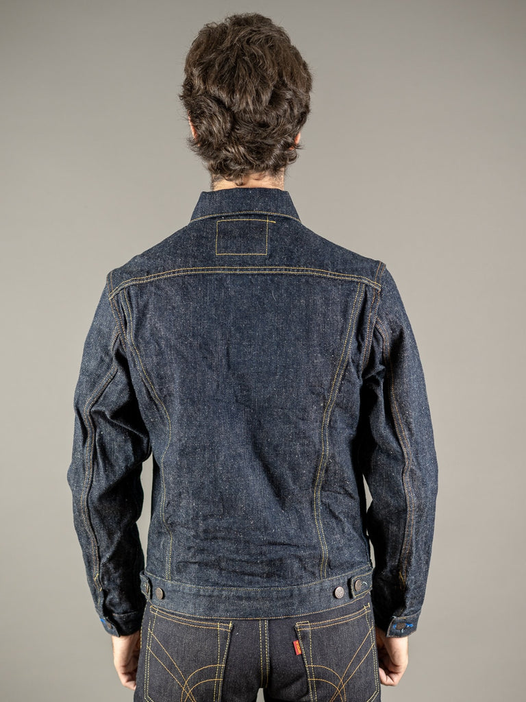 tanuki ejkt3 japanese selvedge denim earth jacket back
