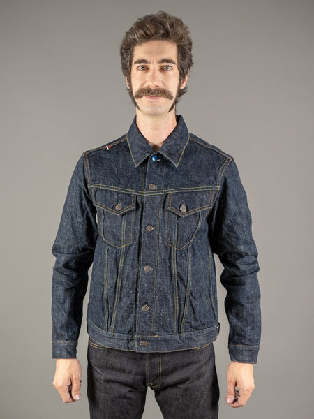 tanuki ejkt3 japanese selvedge denim earth jacket front