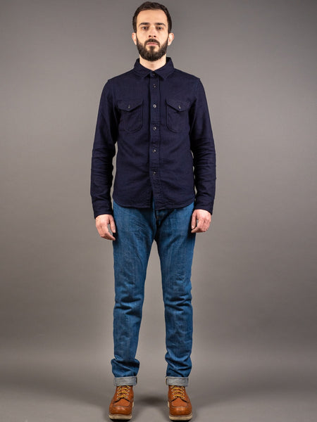 tanuki kht kaze high tapered light indigo jeans