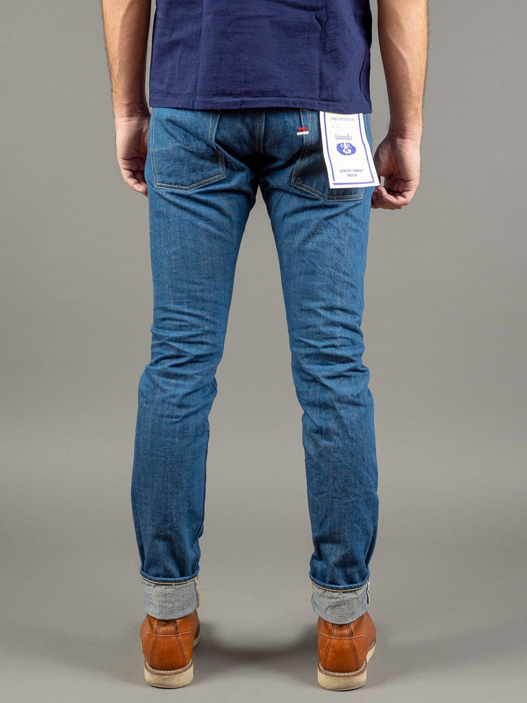 tanuki kt kaze tapered light indigo jeans back