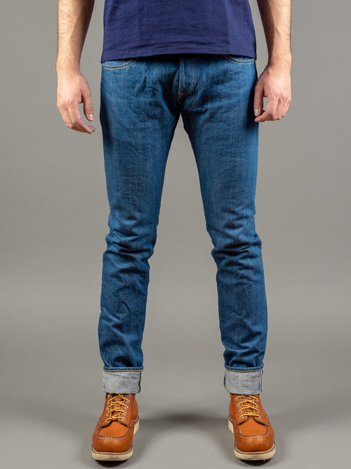 tanuki kt kaze tapered light indigo jeans front