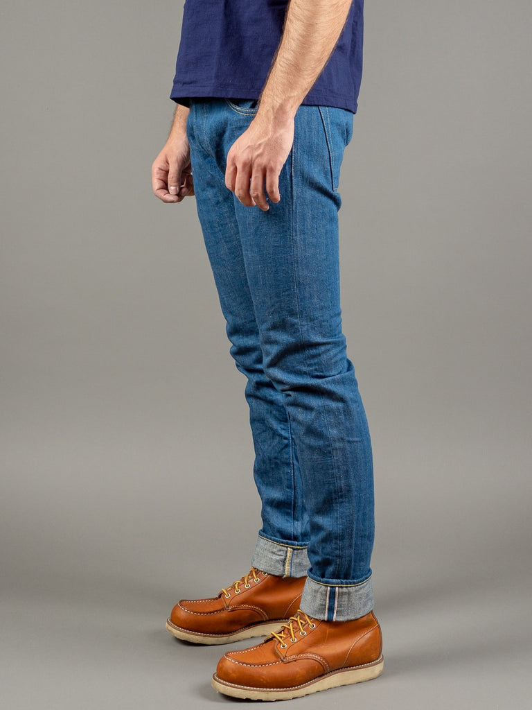 tanuki kt kaze tapered light indigo jeans side