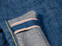tanuki kt kaze tapered light indigo jeans red selvedge