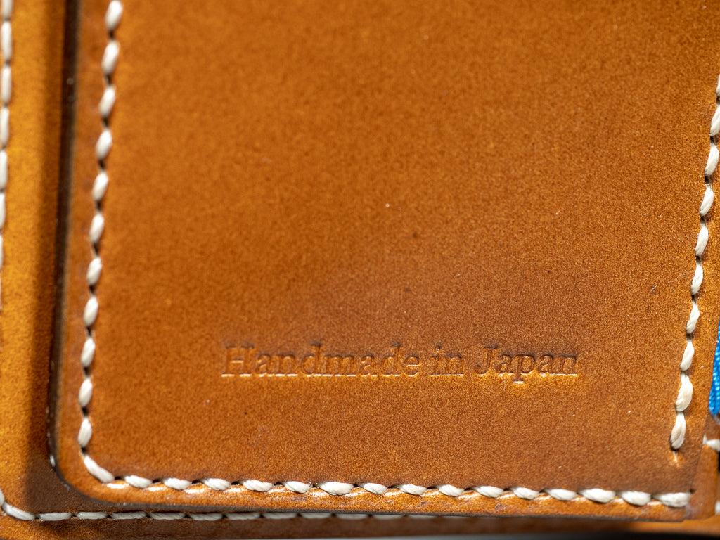 tanuki shell cordovan long bifold wallet handmade in japan engraving