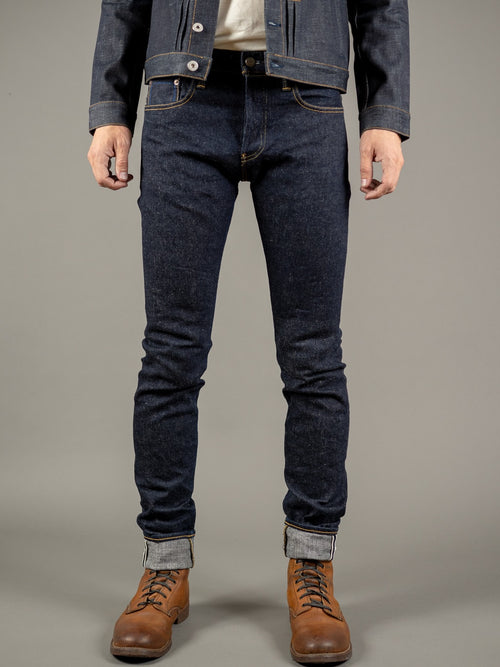 tanuki next natural indigo extra tapered jeans front
