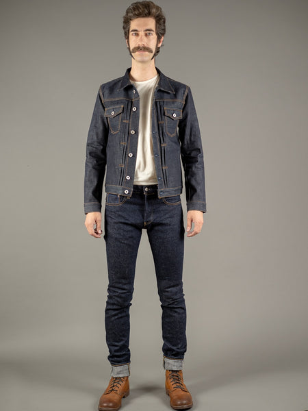 tanuki next natural indigo extra tapered stretch jeans