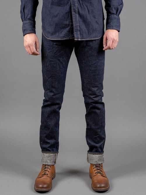 tanuki natural indigo dyed tapered jeans front