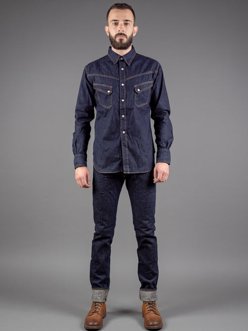 tanuki natural indigo dyed japanese tapered jeans