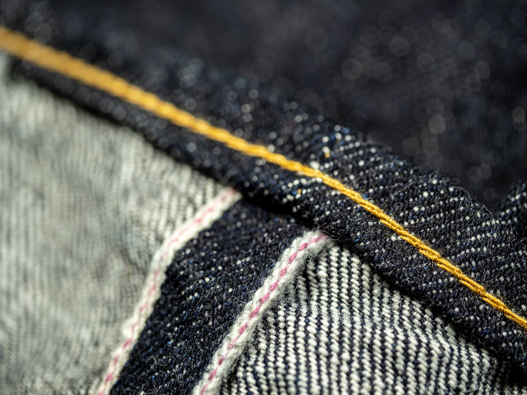 tanuki pink selvedge japanese retro denim fabric