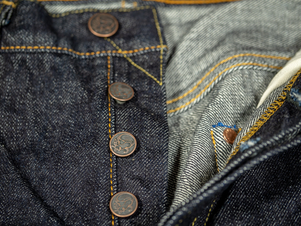 tanuki rht retro high tapered selvedge jeans copper buttons