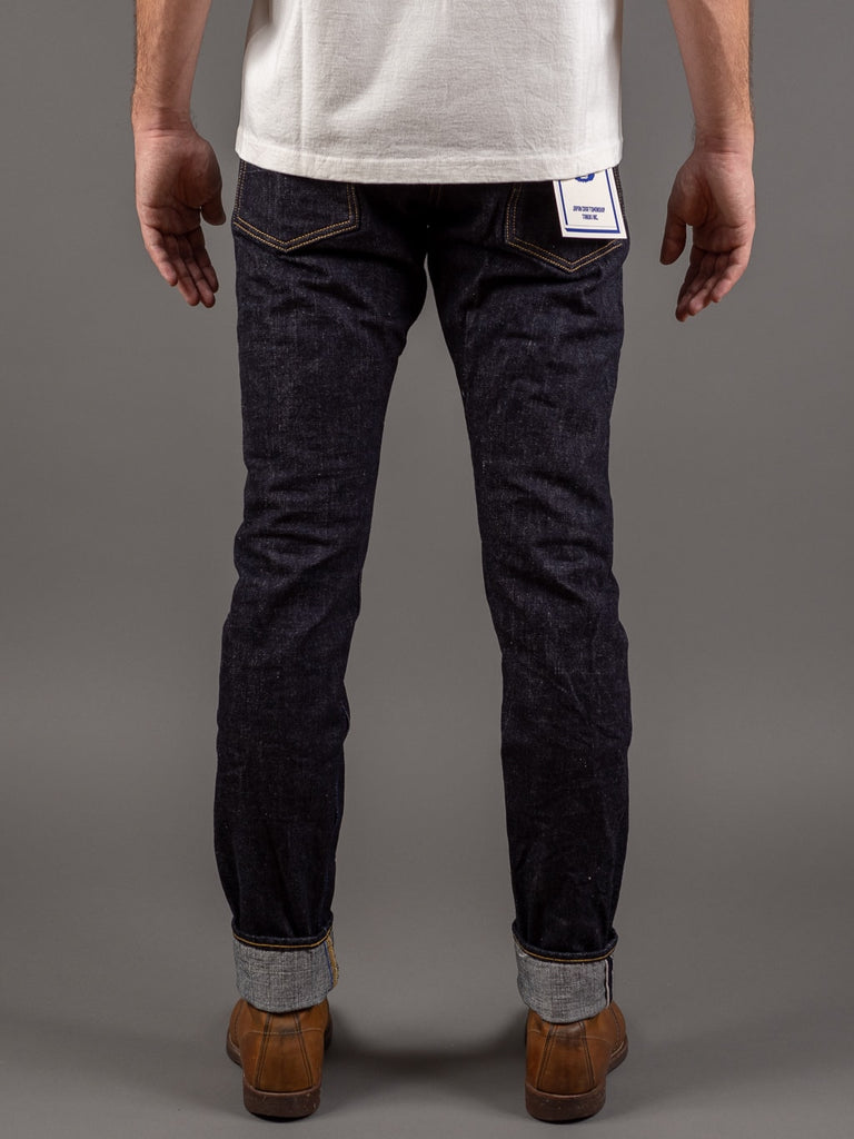 tanuki rht retro high tapered selvedge jeans back