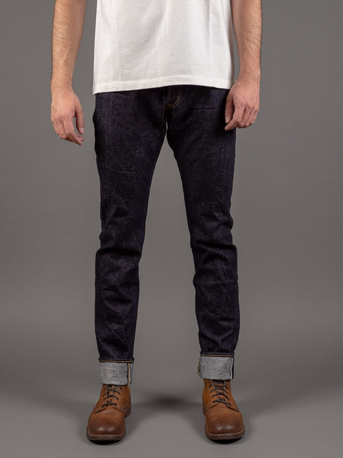 tanuki rht retro high tapered selvedge jeans front