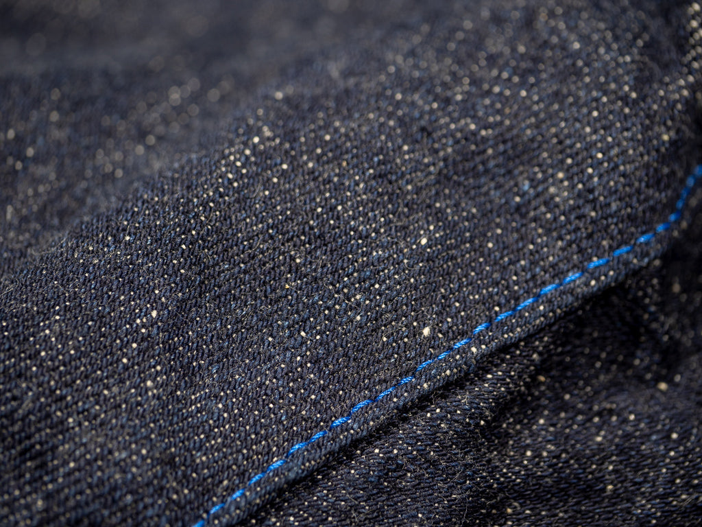 blue stitching of tanuki rt retro tapered selvedge japanese jeans