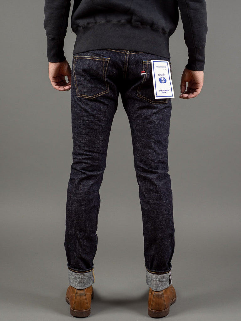 tanuki rt retro tapered selvedge japanese jeans back