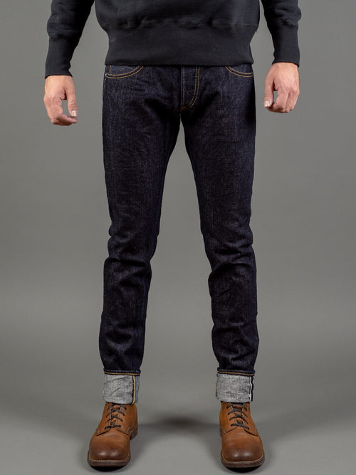 tanuki rt retro tapered selvedge japanese jeans front