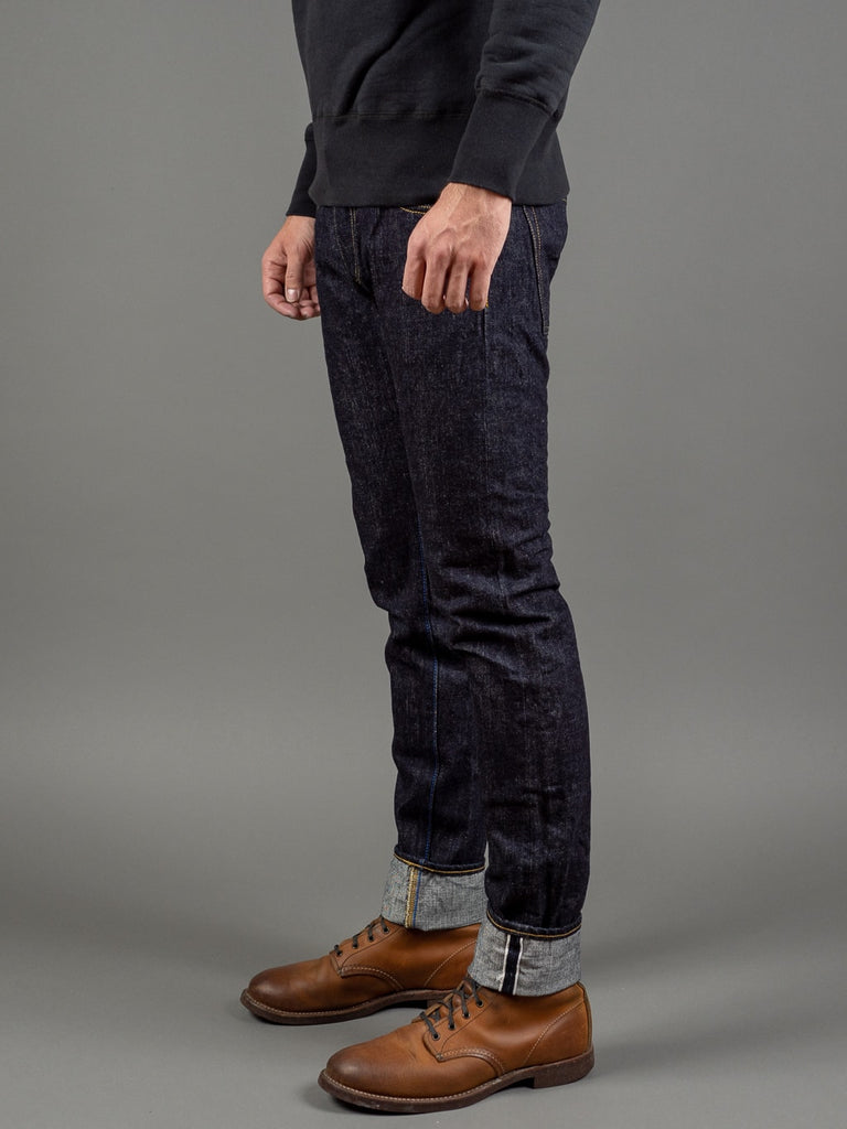 tanuki rt retro tapered selvedge japanese jeans side
