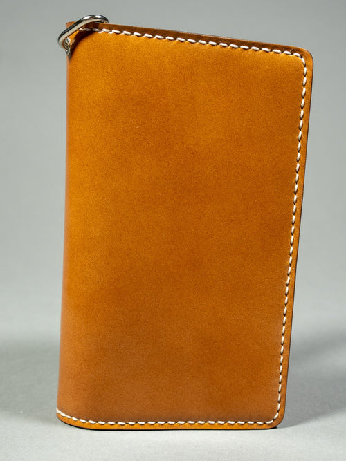 tanuki shell cordovan long bifold wallet hand stitching back