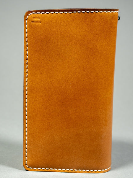 tanuki shell cordovan long bifold wallet hand stitching front