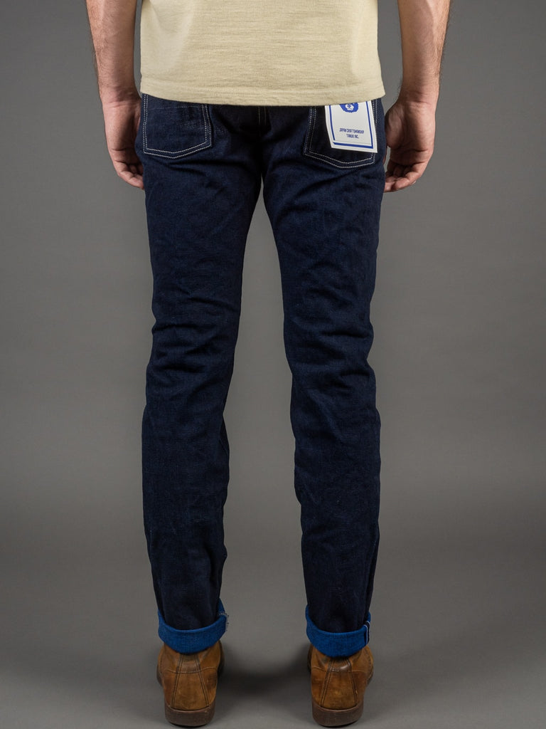 "Tanuki YUHT Natural Indigo ""Yurai"" High Tapered Jeans back"