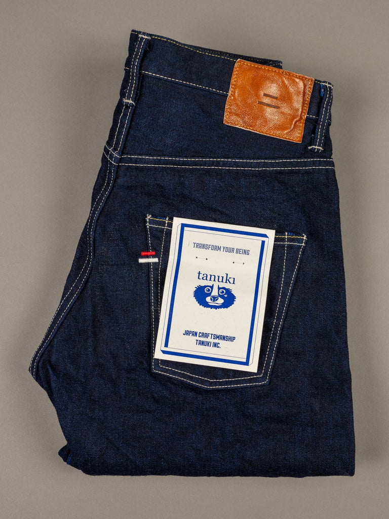 "Tanuki YUHT Natural Indigo ""Yurai"" High Tapered Jeans label"