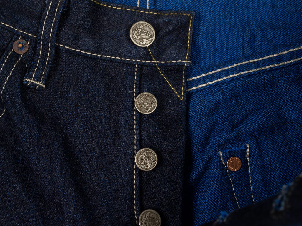 "Tanuki YUHT Natural Indigo ""Yurai"" High Tapered Jeans copper buttons"