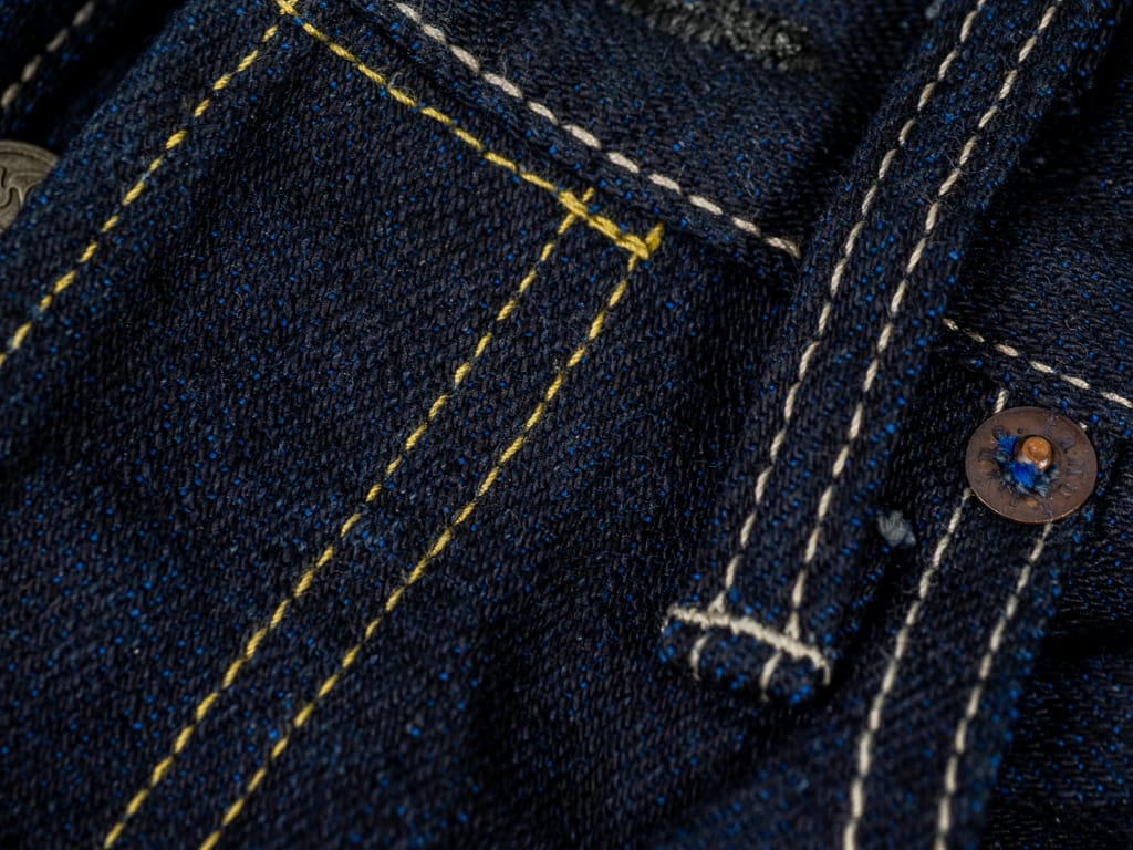 "Tanuki YUHT Natural Indigo ""Yurai"" High Tapered Jeans stitching"